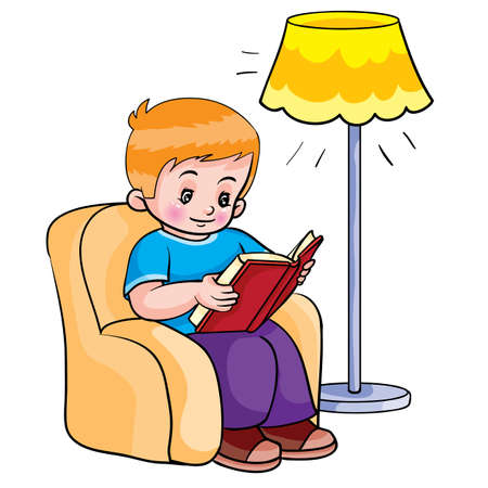 boy sitting in a chair and reading a book, next to him there is a floor lamp and shining, cartoon illustration, isolated object on a white background, vector illustration, eps Stock Illustratie