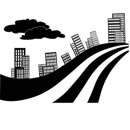 stylized drawing of a street with houses and a highway in black color, isolated object on a white background, vector illustration, eps