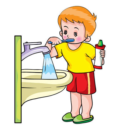 boy stands next to the sink and brushes his teeth, water flows from the tap, boy holds a tube of toothpaste in his hands, cartoon illustration, isolated object on a white background, vector illustration, eps