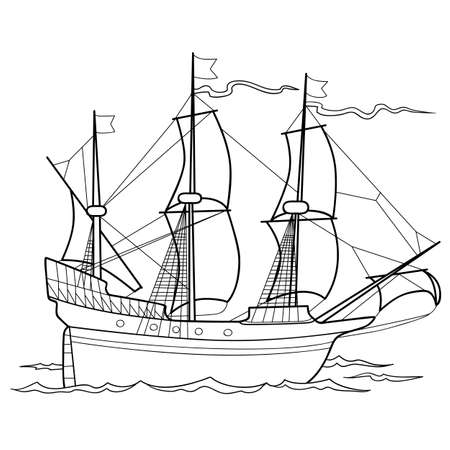 sketch of an old sailing ship, coloring book, isolated object on white background, vector illustration, eps