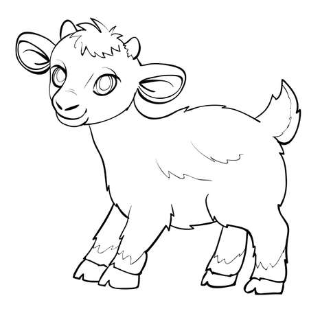 sketch of a little cute lamb, coloring book, cartoon illustration, isolated object on white background, vector illustration, eps
