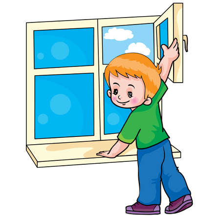 boy opens a window and ventilates the room, cartoon illustration, isolated object on white background, vector illustration, eps Stock Illustratie