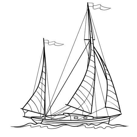 sketch of sailing ship, coloring book, isolated object on white background, vector illustration, eps