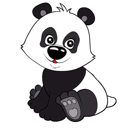 cute black and white panda, cartoon illustration, isolated object on white background, vector illustration