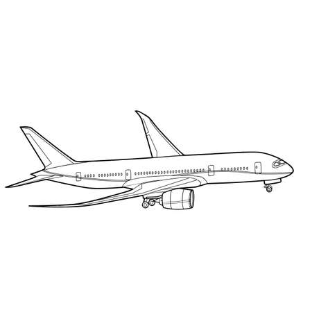 sketch of a passenger plane, coloring book, isolated object on white background, vector illustration