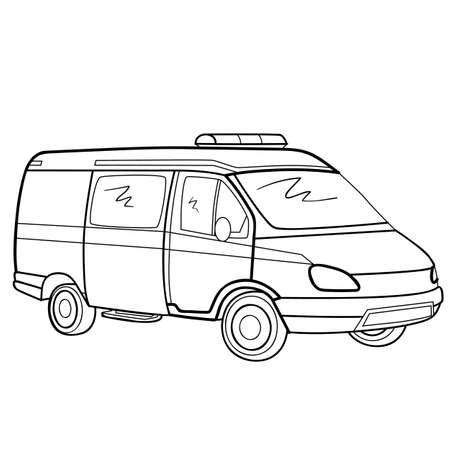 ambulance sketch, coloring book, isolated object on white background, vector illustration, Ilustracja