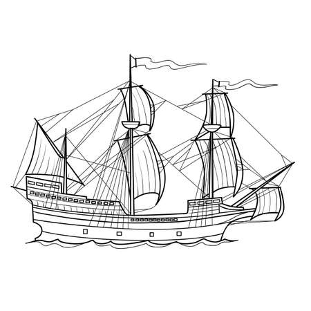 sketch of an old sailing ship, coloring book, isolated object on white background, vector illustration