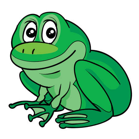 green cute frog, cartoon illustration, isolated object on white background, vector illustration