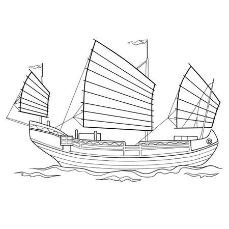 sketch of an old Japanese sailing ship, coloring book, isolated object on white background, vector illustration Ilustracja