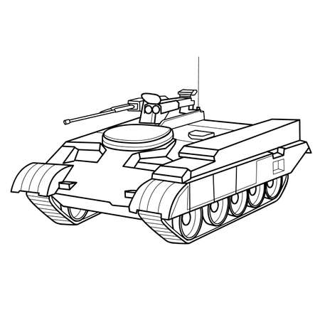 tank sketch, coloring book, isolated object on white background, vector illustration