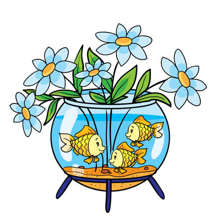 aquarium with fish is misused and put a bouquet of flowers in it, cartoon illustration, isolated object on a white background, vector illustration Stock Illustratie