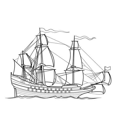 sketch of sailing vintage ship, coloring book, isolated object on white background, vector illustration Ilustracja