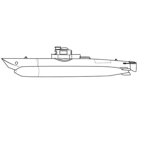 submarine sketch, coloring book, isolated object on white background, vector illustration