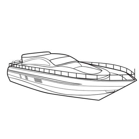 motor boat sketch, coloring book, isolated object on white background, vector illustration