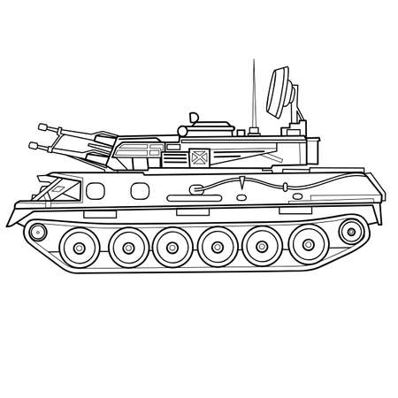 sketch of an armored vehicle, tank, coloring, isolated object on white background, vector illustration Ilustracja