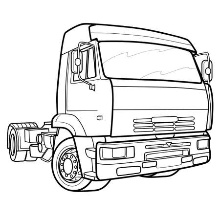sketch of a lorry only cabin without cargo, coloring, isolated object on a white background, vector illustration 矢量图像