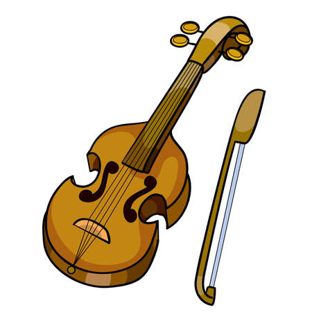 violin with bow, musical instrument, isolated object on white background, vector illustration