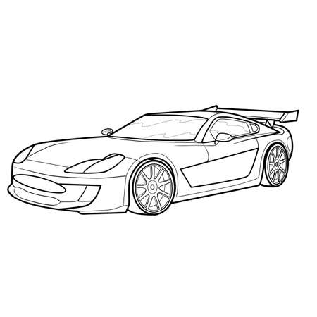sketch of a modern car, coloring, isolated object on a white background, vector illustration