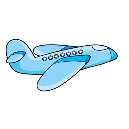 airplane blue color, cartoon illustration, isolated object on white background, vector illustration