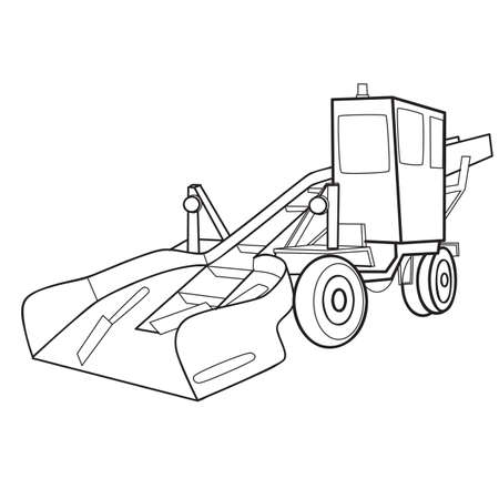 snowblower sketch, coloring book, isolated object on white background, vector illustration