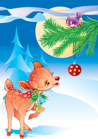 christmas background with a cute deer looking at a red ball hanging on a tree, holiday, isolated object on a white background, vector illustration