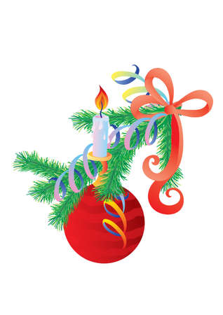 christmas tree branch decorated with a red ball and a burning candle, holiday, isolated object on a white background, vector illustration