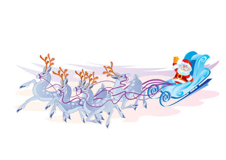 santa claus rides a sleigh pulled by reindeer, holiday, isolated object on a white background, vector illustration Ilustracja