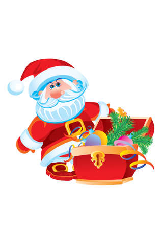 santa claus standing next to the chest with gifts, holiday, isolated object on a white background, vector illustration Ilustracja