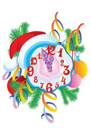 the clock is wearing a hat of santa claus and decorated spruce branches on the back, holiday, isolated object on a white background, vector illustration