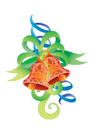 decorative bells can be used for the new year or for another holiday, isolated object on a white background, vector illustration