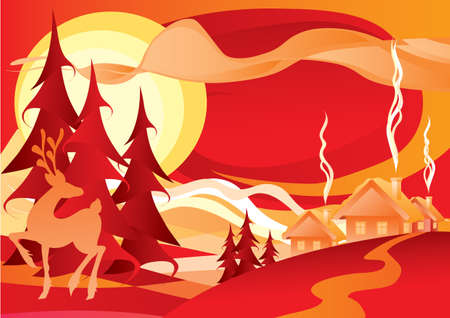 christmas background with deer trees and snow in red color, holiday, isolated object on white background, vector illustration Ilustracja