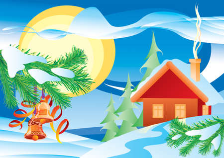 christmas winter weather with snow house and decorated fir branch, vector illustration, cartoon illustration, christmas, eps Ilustracja