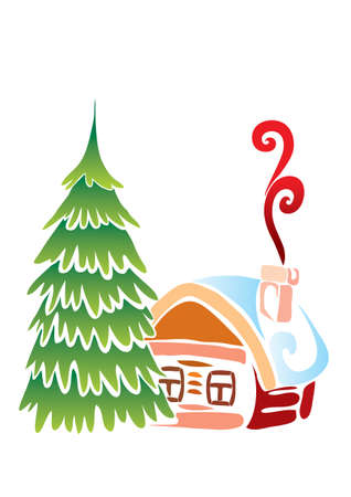 naor of a chopped house and green christmas tree, isolated object on white background, vector illustration, cartoon illustration, christmas, eps