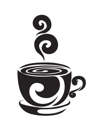 stylized coffee or tea mug in black color, tattoo, isolated object on white background, vector illustration Ilustracja