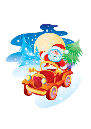 santa claus rides a red car and carries gifts and a christmas tree, isolated object on a white background, vector illustration, cartoon illustration, christmas, eps Ilustracja