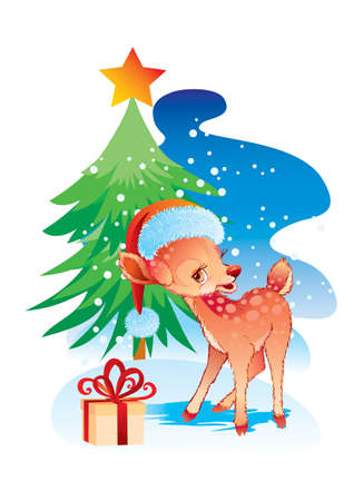 cute deer in a santa claus hat stands next to a gift that lies under the tree, vector illustration, cartoon illustration, christmas, eps