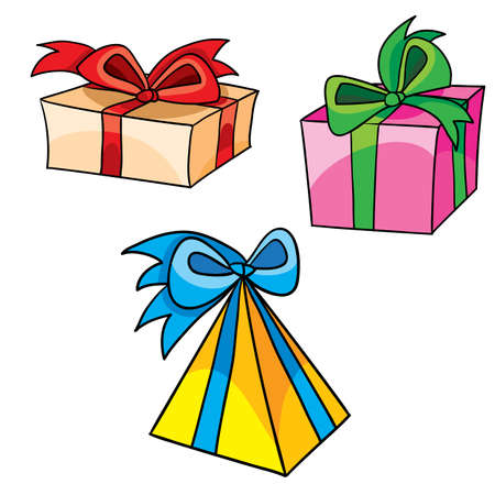 set of three boxes with bows, gifts, isolated object on white background, vector illustration, eps