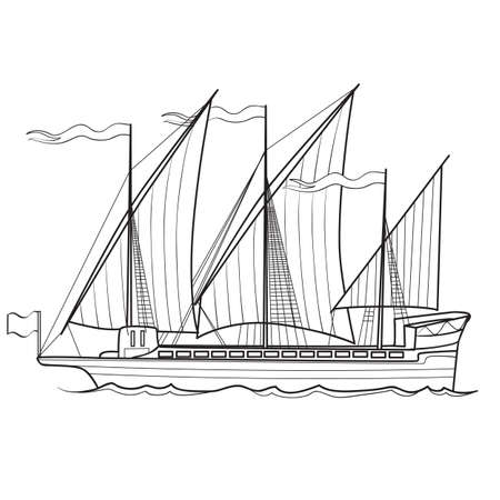 sketch of an old sailing ship, coloring, isolated object on a white background, vector illustration, eps