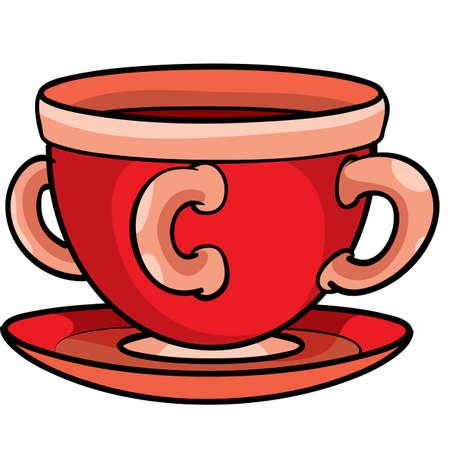 strange red mug with three handles, isolated object on white background, vector illustration, eps