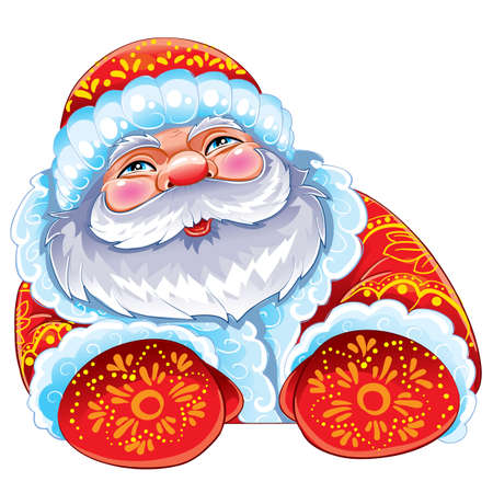 cute santa claus in a hat and mittens, christmas, illustration for a postcard, isolated object on a white background, vector illustration, eps