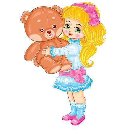 cute girl holding a big toy bear in her hands, gift, retro, cartoon illustration, postcard, isolated object on a white background vector, eps
