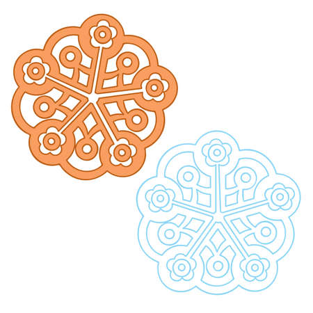 set of two snowflakes in different colors, isolated object on white background, vector illustration, eps