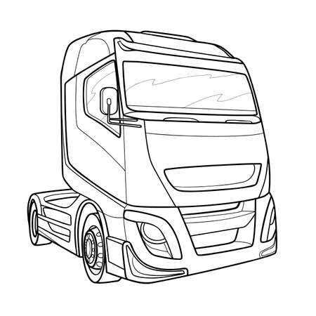sketch of a cab of a big truck, coloring, isolated object on white background, vector illustration, eps
