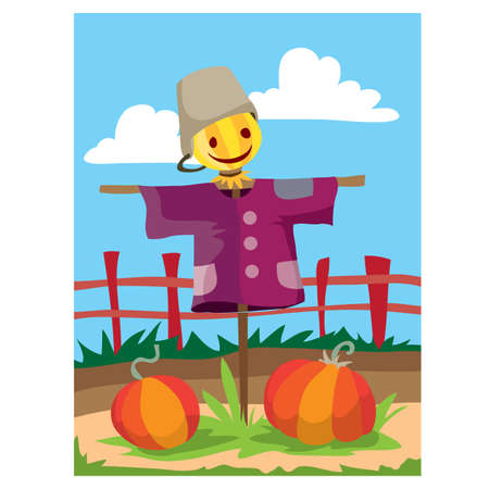 two large pumpkins ripe in the garden in the fall and they are guarded by a scarecrow, the garden is fenced with a fence, cartoon illustration, vector, eps