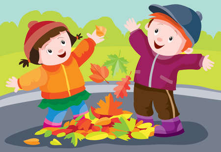 children, boy and girl, play in the street in autumn and have fun throwing foliage into the air, cartoon illustration, vector, eps