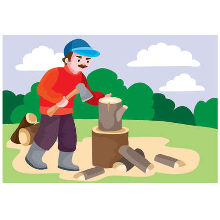 a man in a red sweater pricks a stump on the firewood with an ax, picnic, raota around the house, cartoon illustration, vector, eps