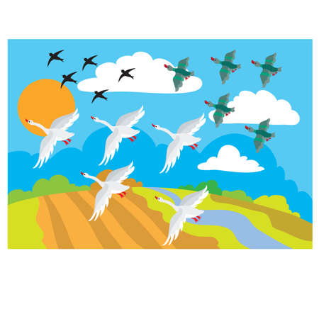 in autumn, birds fly to warm lands, schools, cartoon illustration, vector eps