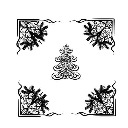 decorative christmas tree in black color framed with christmas garland, isolated object on white background, vector illustration, eps