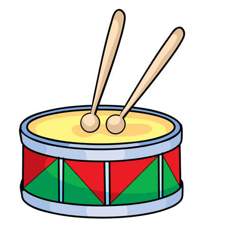 drum, toy, musical instrument, cartoon illustration, isolated object on white background, vector illustration, eps