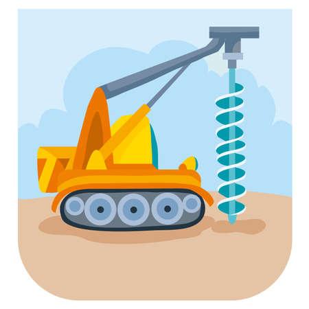 illustration of a cartoon construction drill drills something at a construction site, vector illustration, eps
